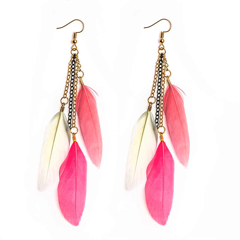SHUANGR Vintage Colorful Feather Earrings Hanging Drops for Women Statement Long Dangle Earring Tassel Jewelry 9 colors Gift
