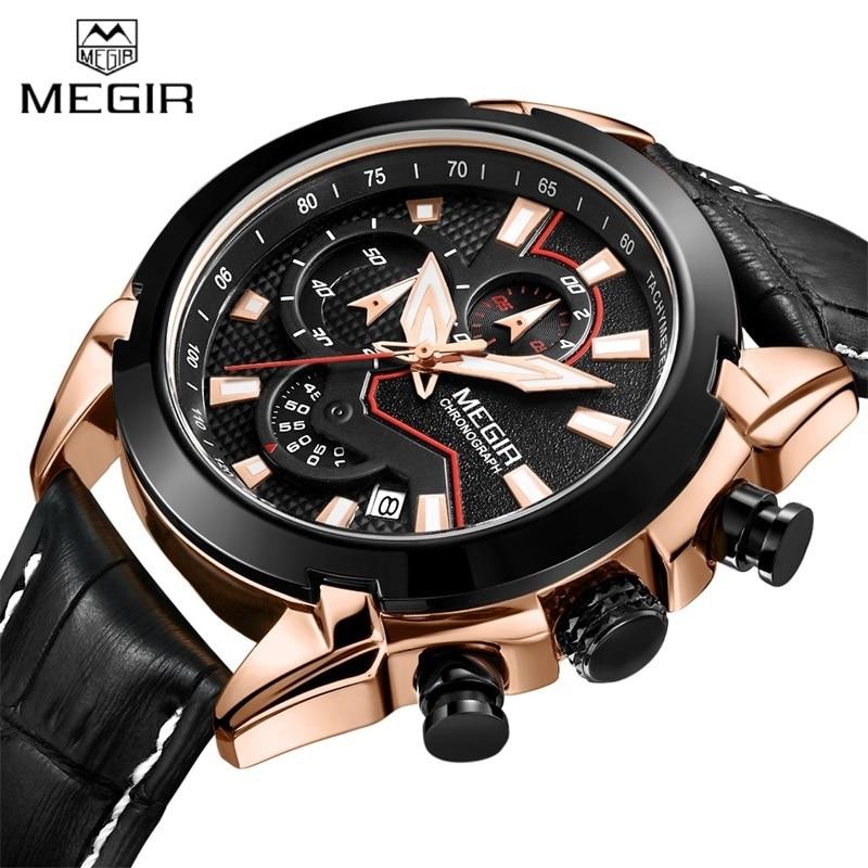 2018 MEGIR Genuine Leather Sports Watches Men Quartz watch Military Chronograph Men's Brand Luxury Wristwatch Relogio Masculino
