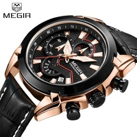 2018 MEGIR Genuine Leather Sports Watches Men Quartz Watch Military Chronograph Men S Brand Luxury Wristwatch
