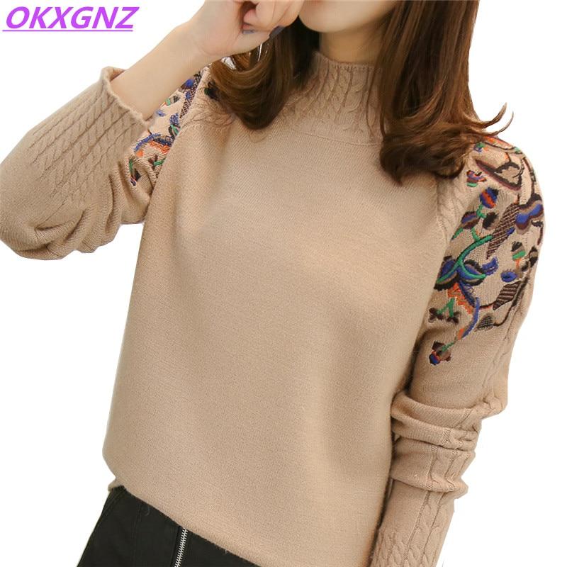 женский осенне зимний вязаный свитер пуловер с вышивкой