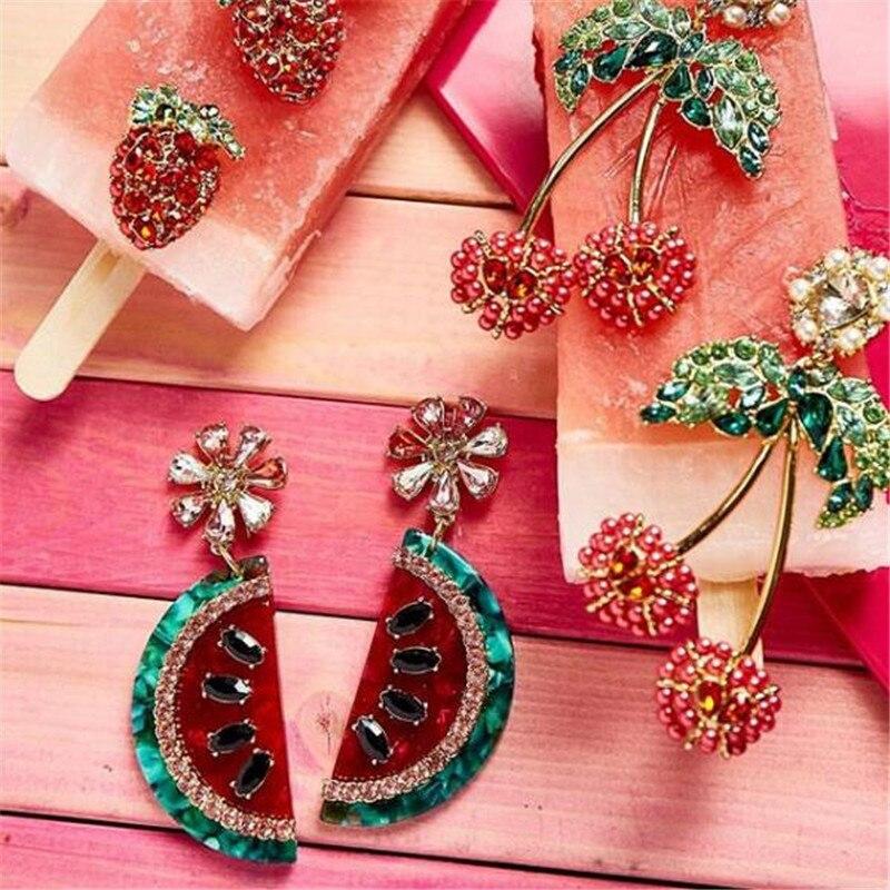 Juran brincos de frutas, brincos de cereja, de abacaxi, de melancia, para presentes