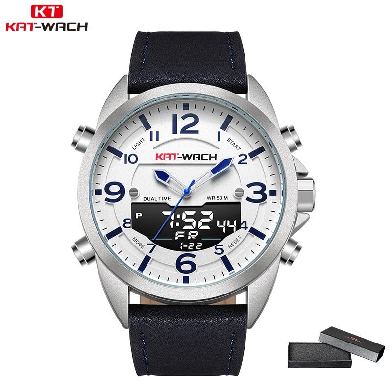 KAT-WACH Homens Top Marca de Moda Relógio de Quartzo Relógios De Pulso De Couro À Prova D' Água LED Esporte Militar dos homens Relógio Relogio masculino