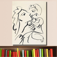 HDARTISAN Mother Child Brush & India Ink On Paper Oil Painting Abstract Modern Wall Painting  Canvas Art Prints for Living Room
