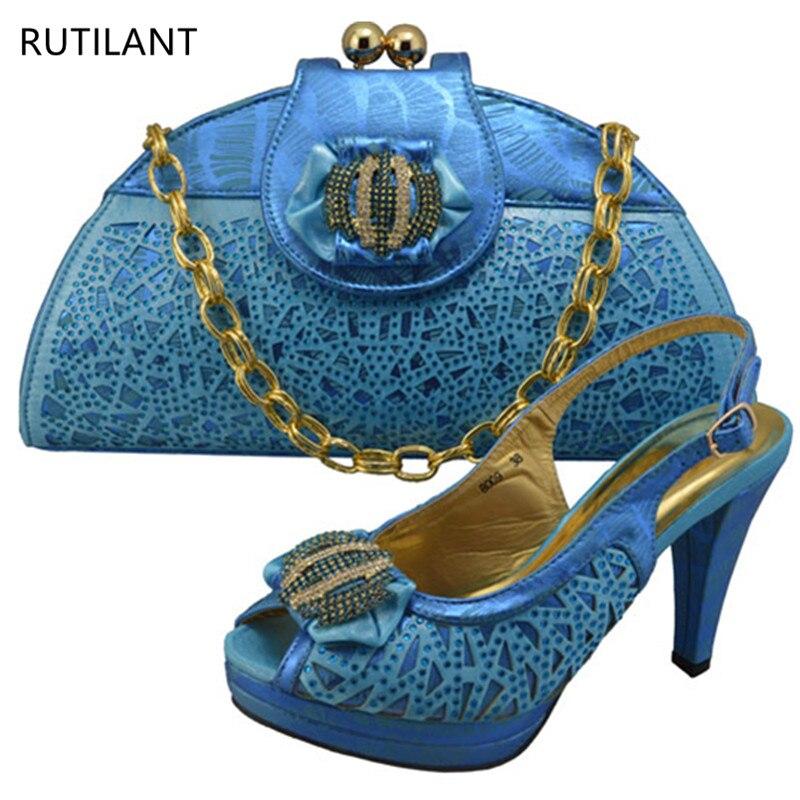 Ensemble Strass or Dames Et Italiennes Pour vert Sacs Bleu À Avec Décoré Sac Femmes Chaussures Nouvelles Correspondre xX8qgU8
