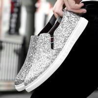 Brand Handsome Trendy Shiny Man Shoes Glitter Comfy Diamonds Walking Shoes Jogging Vintage Gentle Gold,Silver,Black,Blue