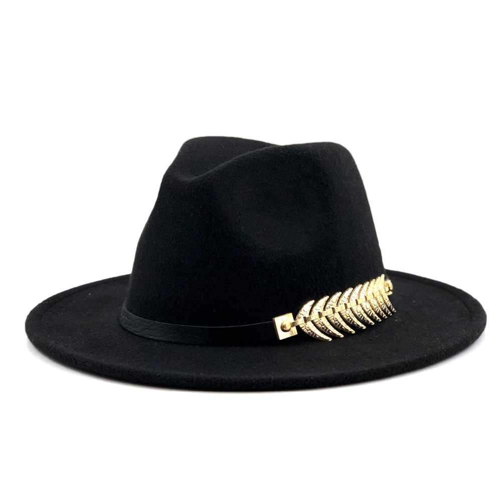 b1f69458d1a2a New Wool Fedora Hat Hawkins Felt Cap Wide Brim Ladies Trilby Chapeu  Feminino Hat Women Men