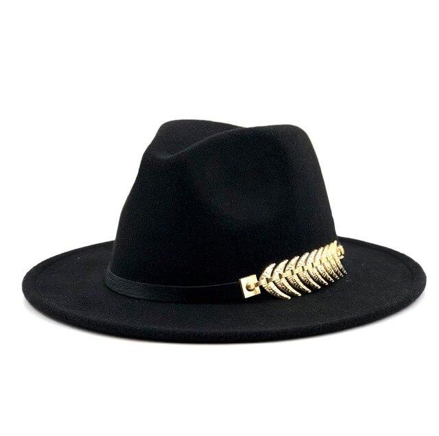 2d5398af27633 New Wool Fedora Hat Hawkins Felt Cap Wide Brim Ladies Trilby Chapeu  Feminino Hat Women Men Jazz Church Godfather Sombrero Caps