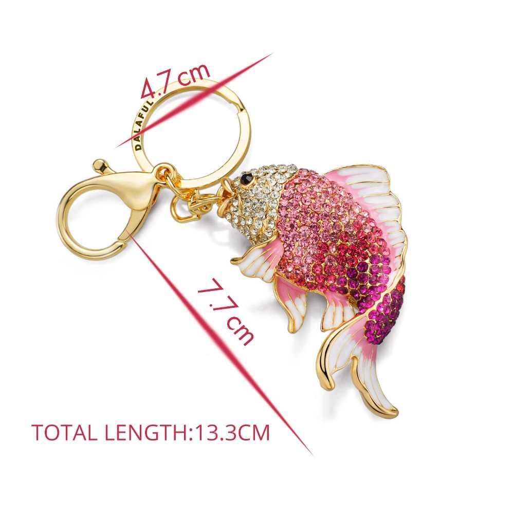 Dalaful, изысканная эмалированная Хрустальная Рыбка, брелок, держатель, золотая рыбка, сумка, пряжка, сумочка, подвеска для автомобиля, брелки, брелки, K239