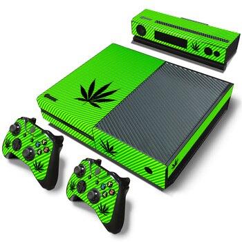 Envío Gratis, pegatina para piel de diseño de Hojas de hierba verde para xbox one Console + 2 uds pegatinas para mandos TN-XBoxone-2457