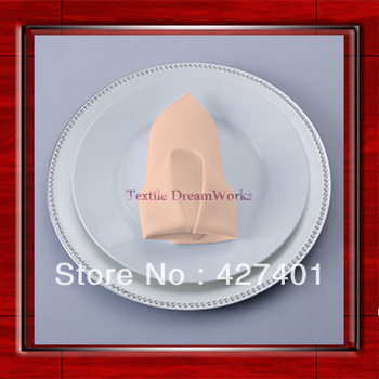 High Quality 45x45cm Peach Polyester Plain Napkin / Table Napkin / Hotel Napkin / Dinner Napkin  (Factory Direct Sale)