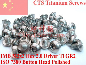 Titanium screw M3x3 ISO 7380 Button Head  Hex 2.0 Driver Ti GR2 Polished 50 pcs 50pcs lot iso7380 m3 x 6 pure titanium button head hex socket screw