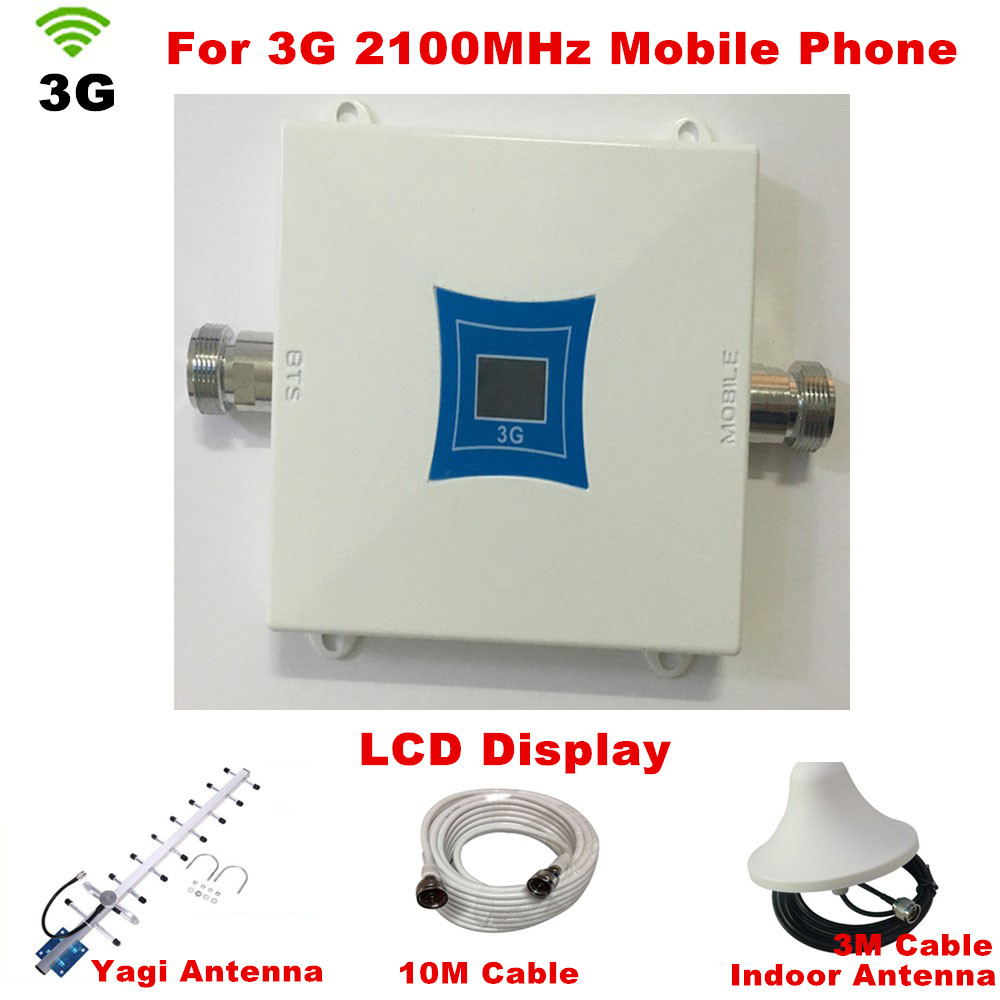 New Mini Repeater 3G UMTS W-CDMA 2100Mhz Repetidor 3G Repeater Booster Yagi And Ceiling Antenna Full Sets 3G Signal Booster Kits