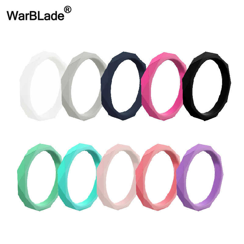 WarBLade 2019 New 3mm Diamand Shape Silicone Ring For Women Wedding Rings Hypoallergenic Crossfit Flexible Rubber Finger Ring