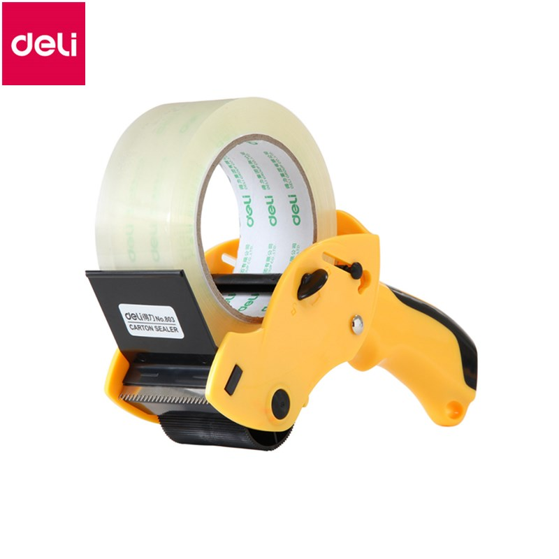 Deli 1pc Sealing device Packer Scotch tape cutter Capable 6cm Width Sealing Tape Holder Office Tape Cutter Random Color waterproof seam sealing tape roll satellite self amalgamating rubber sealing tape sealing cable repair lead