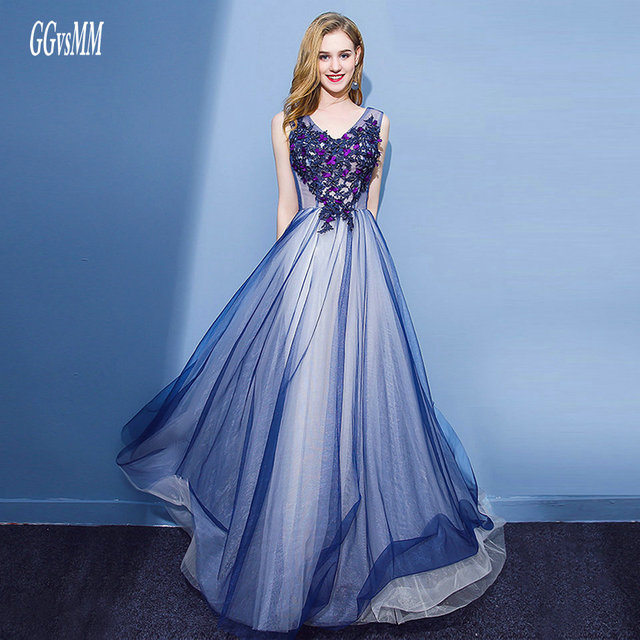 Sexy Royal Blue Prom Dresses Long 2018 Prom Dress Plus Size V-Neck Tulle  Appliques Lace-Up Formal Party Gown Evening Custom Made fcf0ee9b24b9