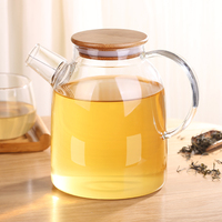 Creative Glass Water Pot BPA Free Tea Glass Water Bottle With Bamboo Cap Stainless Steel Glass