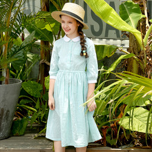 Figwit Kids Summer Autumn Dresses For Girls Child Clothes 2018 Teenagers Teens  Blue Green A Line Long Dress For Age 6 10 Years недорого
