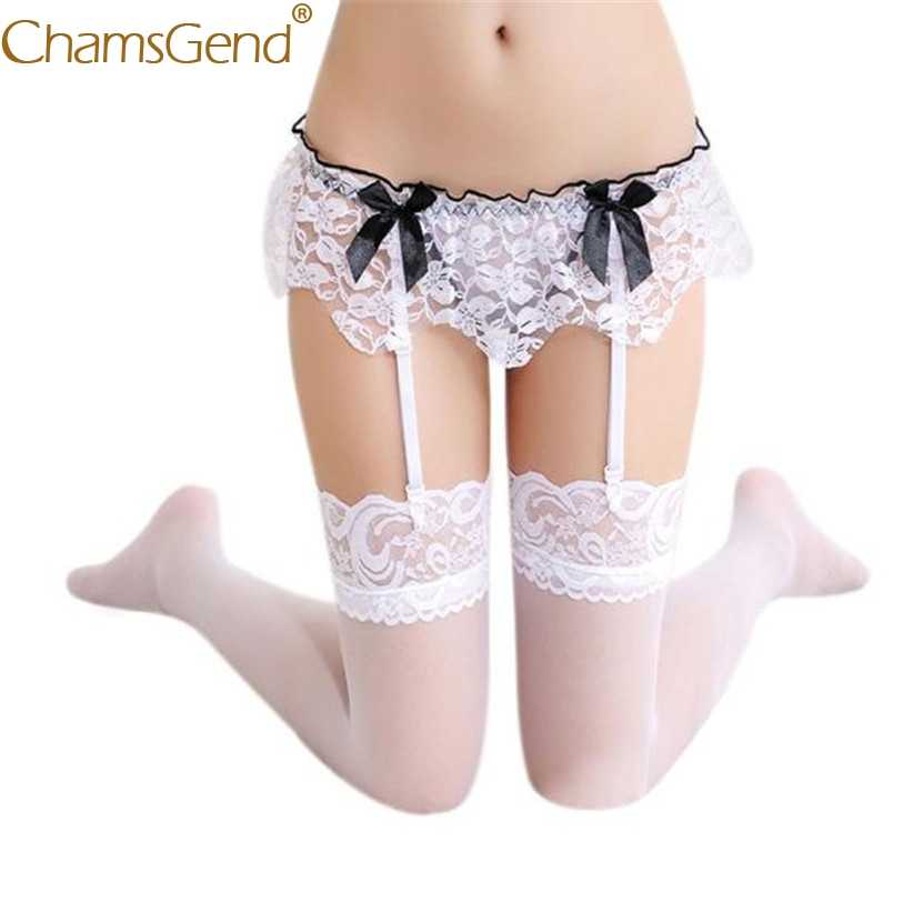 Chamsgend Intimates ผู้หญิงเซ็กซี่ Linegrie Ruffle ลูกไม้ Garter belt Suspender ชุด G - String ชุดชั้นใน 80111