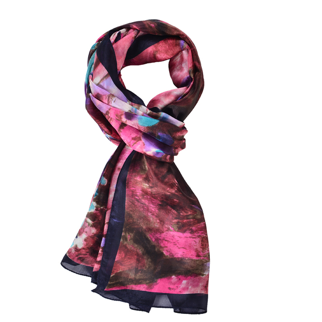 SALUTTO 100% Natural Silk Scarves Women Fashion Flower Printed Pure Silk Scarf Shawl Large Size 180X90cm Sunscreen Shawls