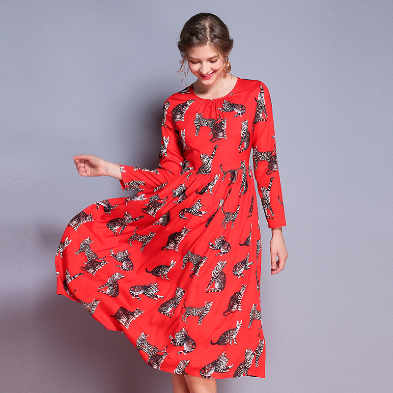 XIANGSHI New Fashion Runway Summer Dress Women s Long Sleeve Casual Chiffon Cat Print Elegant Knee