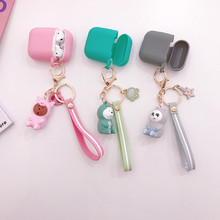 For AirPods Case Bluetooth Wireless Earphone Case For Apple Airpods 2 Charging Box Cartoon Cover with Finger key rings Strap