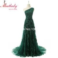 Real Samples Elegant A line One shoulder Emerald Evening Dress Long Lace Applique Sequins Evening Gown Red Carpet DressRE03