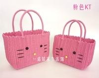 Plastic Bath Basket Kitten Multifunctional Receiving Basket Parent child Bag Plastic Braided Vegetable Basket Shopping Basket
