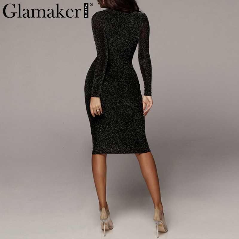 Glamaker Black lurex party bodycon dress Women summer sexy holiday beach dress Elegant long sleeve vintage midi dress sequin