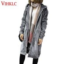 Осень, новинка, открытые бархатные женские базовые пальто с капюшоном, куртка, повседневная женская зимняя длинная модная черная куртка с капюшоном, верхняя одежда T482