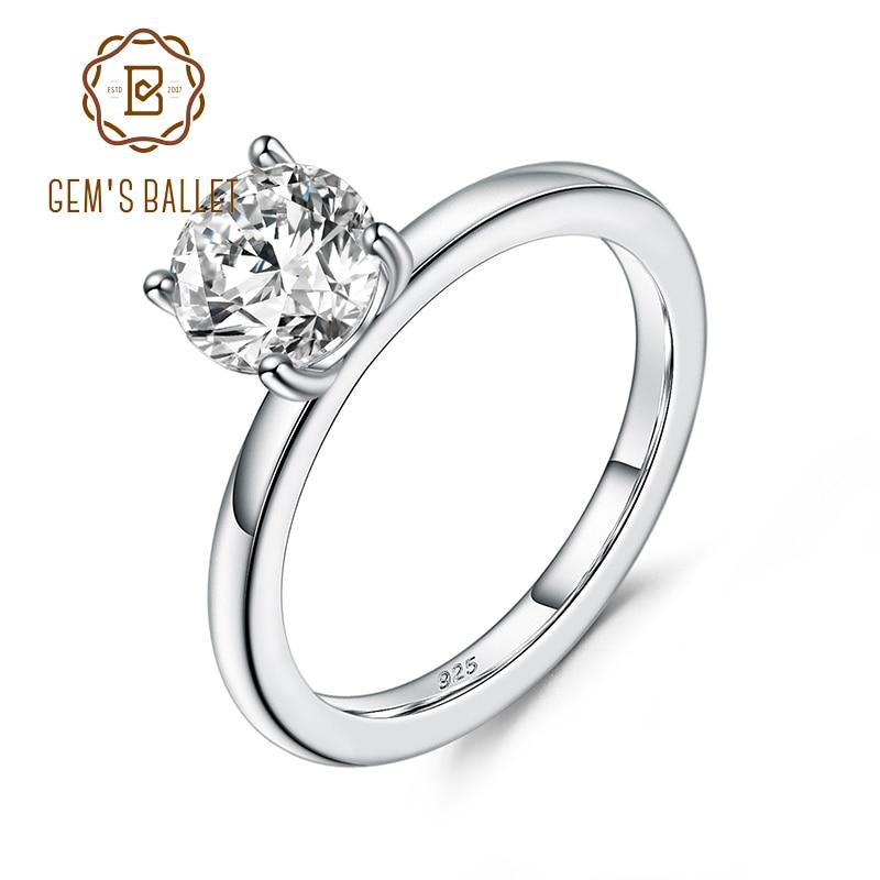 GEM'S BALLET 925 en argent Sterling, anneaux de fiançailles pour femmes, couleur EF, 0,5 ct, diamant de laboratoire, mariage