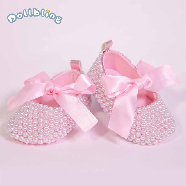 Blush Pink Custom Handmade Boutique Lace up Noble Pearls Ribbon Bow Soft Sole Princess Baby Girls Infant First Walker