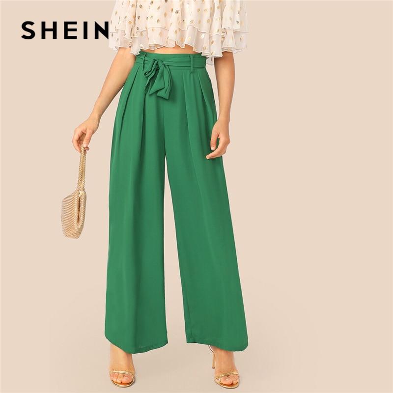 SHEIN Green Fold Pleat Belted Palazzo Wide Leg Pants Women Spring Autumn High Waist Zipper Fly Long Loose Trousers Elegant Pants