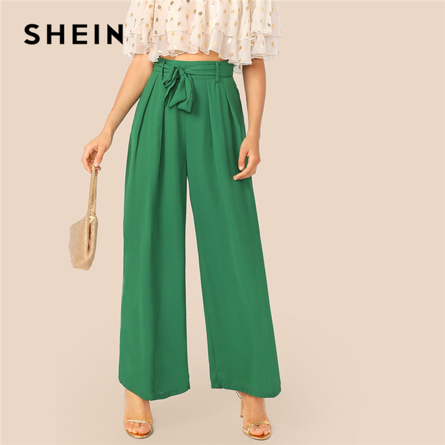 f812dc3b5f SHEIN Green Fold Pleat Belted Palazzo Wide Leg Pants Women Spring Autumn  High Waist Zipper Fly Long Loose Trousers Elegant Pants