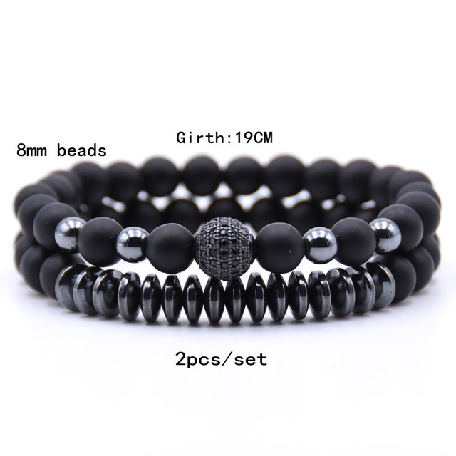 2PCS/Set Hematite Natural Stone Bracelet4
