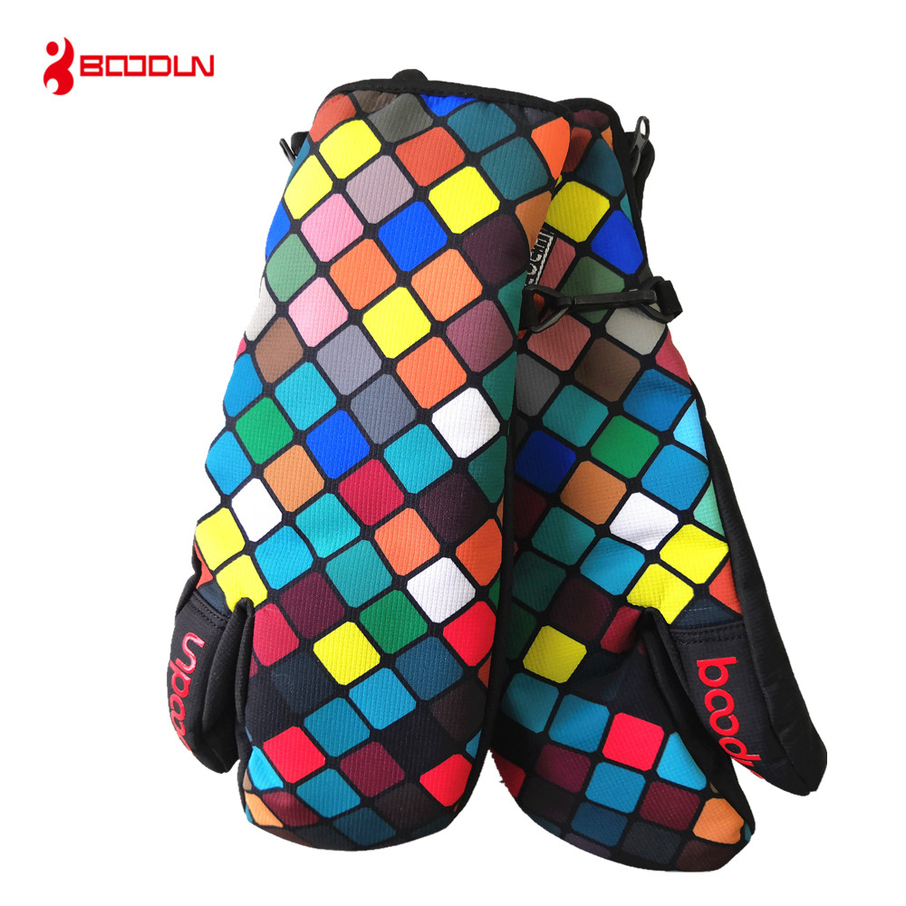 BOODUN Thermal Fleece Snowboard Gloves For Women Girls Boys Ski Gloves Windproof Waterproof  Winter Snow Skating Skiing Gloves