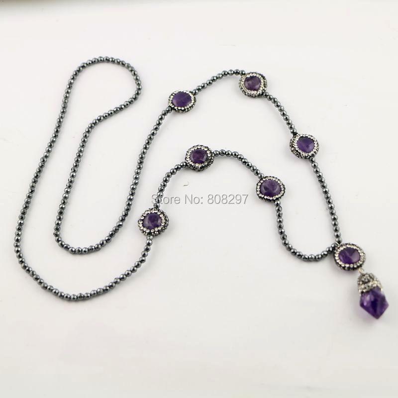 Popular 3 Strands Pave Rhinestone Amethyst Quartz Gem stone Necklace with 3mm Mini Black Hematite Beads