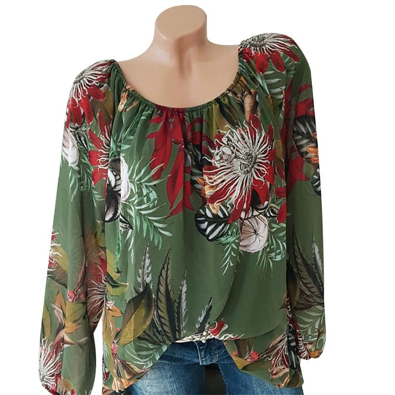 Off Shoulder Womens Tops And Blouses Flower Printed Fashion Shirts Long Sleeve Vintage Ladies Plus Size 2018 Boho Blusa Feminina 1