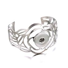 007 Exaggerated Flowers Arm Cuff Armlet Armband Big Bangle Bracelet Cuff Jewelry Fit 18mm Snap Button Bracelet Jewelry For Women chic exaggerated alloy cuff bracelet for women