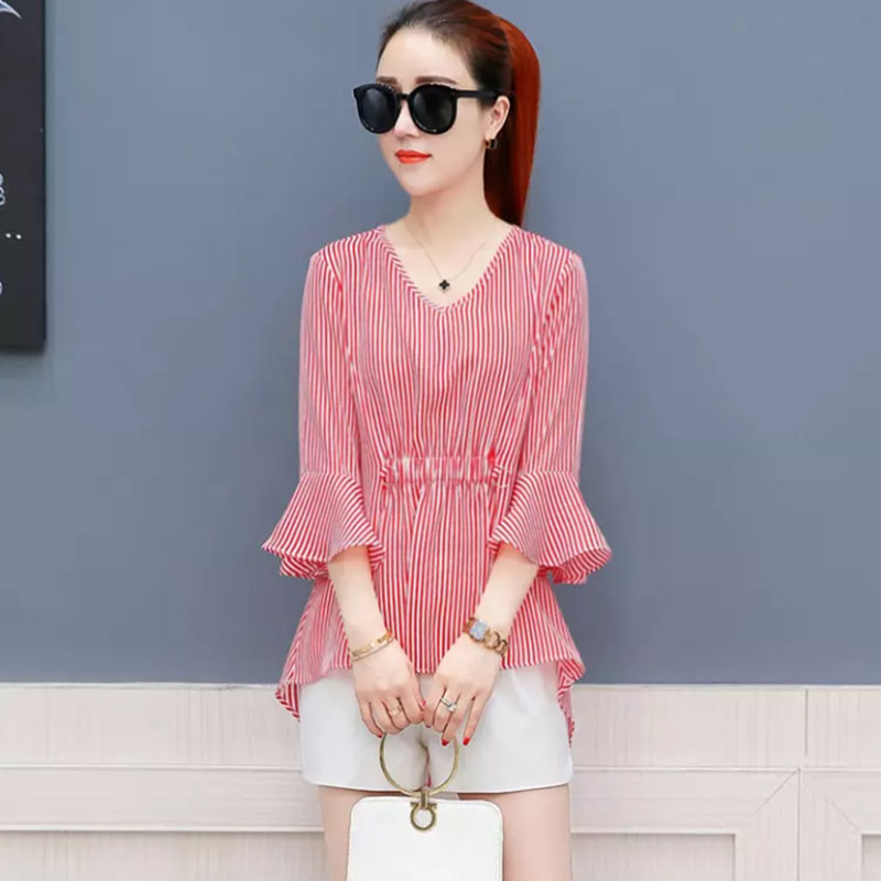 86c7387926a1ae New Design Women Spring Summer Style Chiffon Blouses Shirts Lady Casual  Striped Printed V-Neck Blusas Tops DD1779