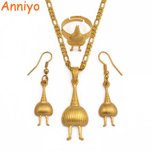 Anniyo Gold Color Papua New Guinea Pendant & Chains/Ring/Earrings for Womens,PNG Jewellery Patriotic Gifts #098106(China)