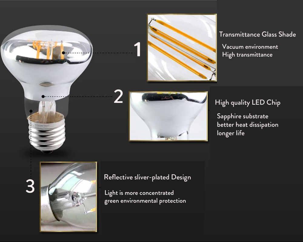E27 LED ampoule Filament lampe R50 R63 R80 puissance réelle 3 W 4 W 5 W 220 V E14 lumière Edison LED remplacer incandescente 30 W 40 W 50 W
