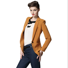 Women Blazer Autumn Solid Long Sleeve Candy Color Outwear Lined One Button Women Blazer And Jacket Casacos Feminino JT76