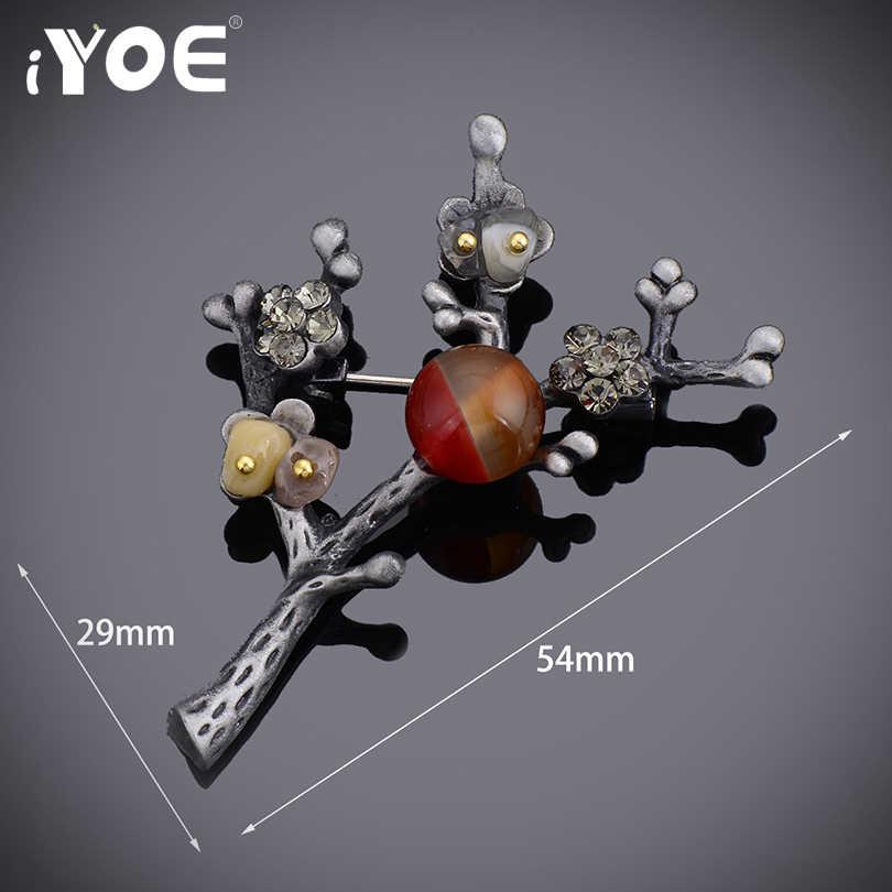 IYOE ブランド赤ビーズヴィンテージ梅の花のブローチピンシンプルなアンティークシルバー色のレトロな木ブローチジュエリーギフト