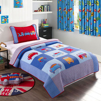 Kids Embroidered Car Quilt Set 2pcs Quilted Bedspread Bed Covers Washed Cotton Quilts Coverlet Cover Twin Size Boys Bedding