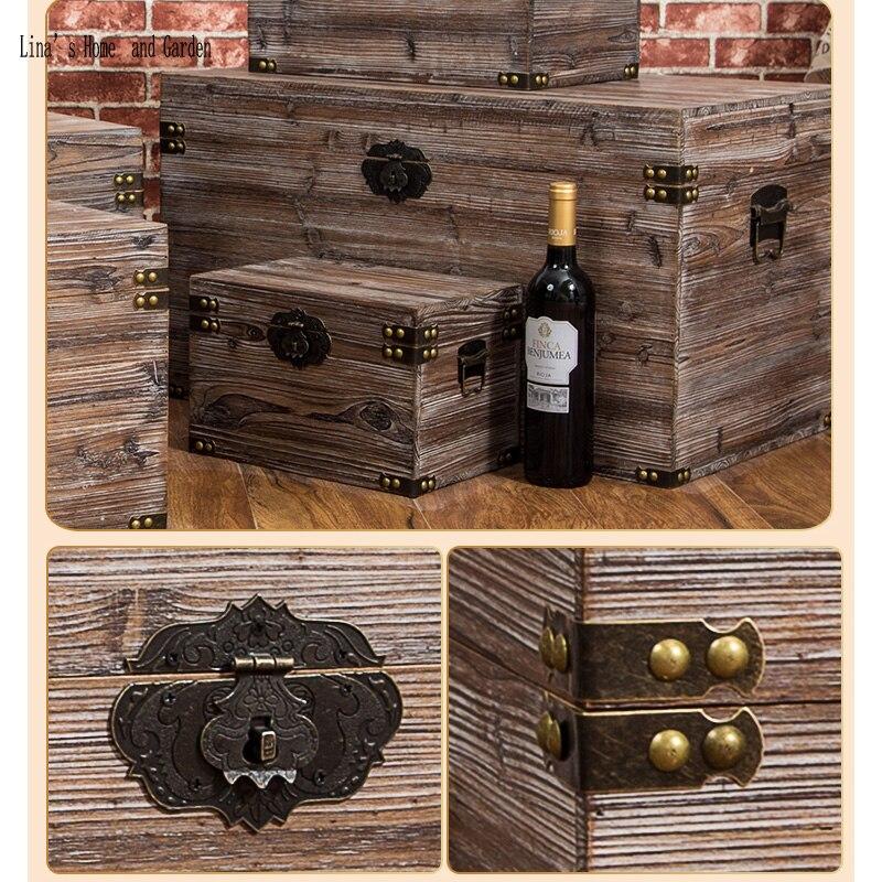 solid hand made antique wooden storage box (5)