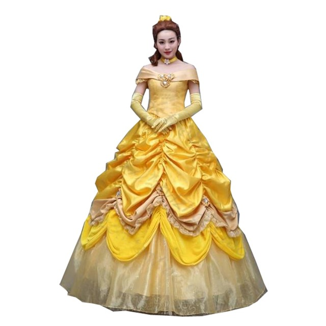 2017 Beauty And The Beast Princess Belle Cosplay Dress Long Yellow For Women Custom Costume