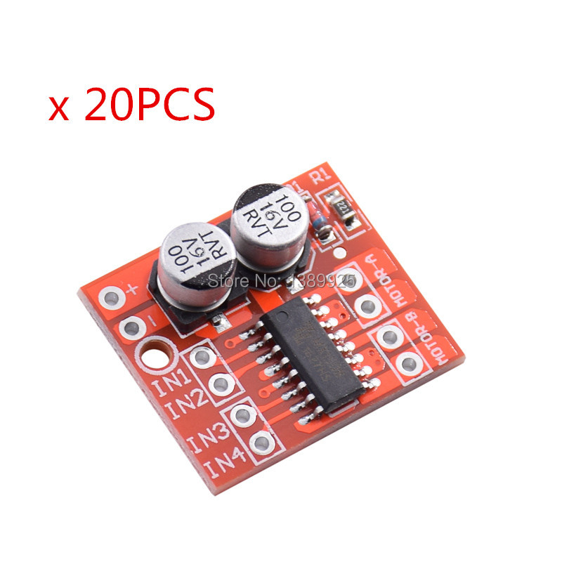 20PCS 2 CHANNEL DC Motor Drive Module Positive Inversion PWM Speed Adjustment Double H Bridge Mini Stepper Motor Victory L298N