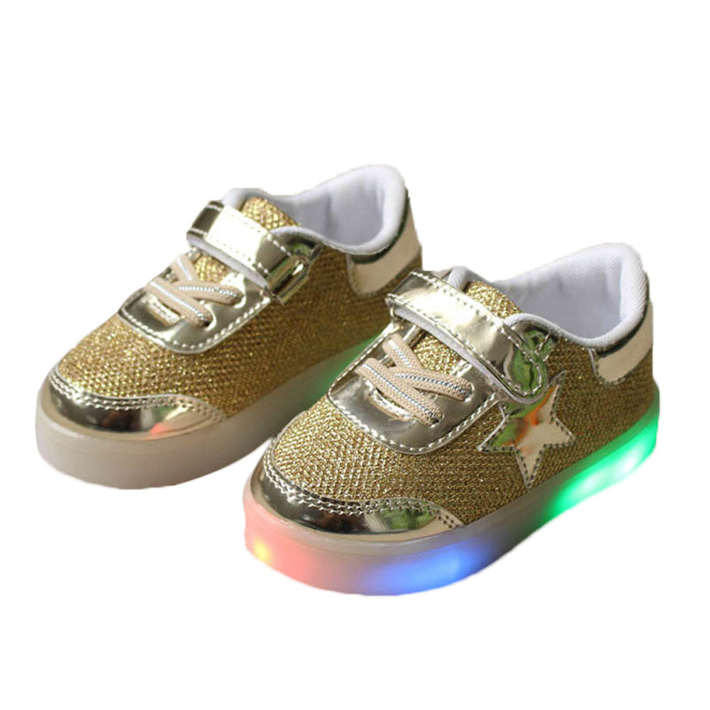 Kids LED Sneakers Spring Children Colorful Flashing Light Casual Shoes Stars Boots M09