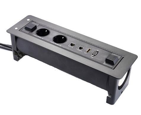 Prise électrique européenne avec Rotation de bureau rotative usb prise de courant motorisée prise cachée de bureau
