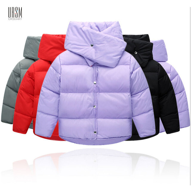 b32e33bbc Fashion Scarf Collar Unisex Winter Thermal Down Coat Candy Color Girl Solid  Thick Parkas Casual Clothes